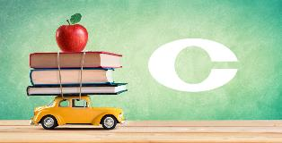 Back to school image of books and apple